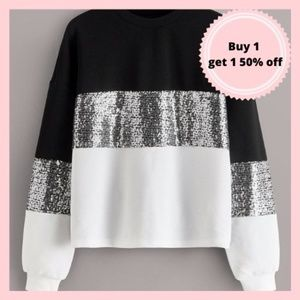 Sequin White and Black Sweatshirt Pullover
